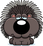 Cartoon Sad Porcupine Royalty Free Stock Photo