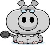Cartoon Sad Rhinoceros Royalty Free Stock Photography