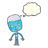 cartoon sad robot with thought bubble Stock Images
