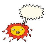 cartoon sad sun with speech bubble Royalty Free Stock Image