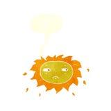 Cartoon sad sun with speech bubble Stock Photos