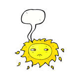 Cartoon sad sun with speech bubble Royalty Free Stock Images