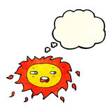 Cartoon sad sun with thought bubble Royalty Free Stock Image