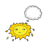 Cartoon sad sun with thought bubble Stock Images
