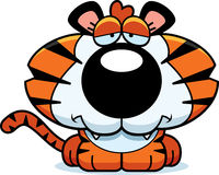 Cartoon Sad Tiger Cub Stock Images