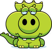 Cartoon Sad Triceratops Royalty Free Stock Image