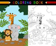 Cartoon safari animal coloring book Royalty Free Stock Photography