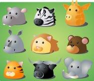 Cartoon safari animals. Cartoon illustration of African wild safari animals: hippo, zebra, giraffe, rhino, lion, monkey, tiger, buffalo, lion Stock Photo