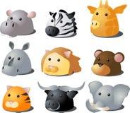 Cartoon safari animals. Cartoon illustration of African wild safari animals: hippo, zebra, giraffe, rhino, lion, monkey, tiger, buffalo, lion Royalty Free Stock Photos
