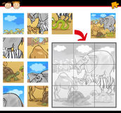 Cartoon safari animals jigsaw puzzle Stock Photography