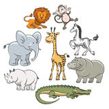 Cartoon safari and jungle animals Stock Images