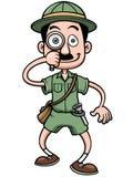Cartoon Safari man. Vector illustration of Cartoon Safari man holding magnifying glass Stock Photo