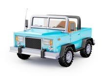 Cartoon safari suv blue. Blue safari suv in retro cartoon style isolated on white. 3d illustration Stock Image