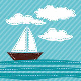 Cartoon Sail Boat. Patchwork. Stock Photo