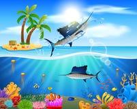 Cartoon sailfish jumping in blue ocean Royalty Free Stock Photos