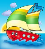 Cartoon sailing boat with sunset Royalty Free Stock Photography