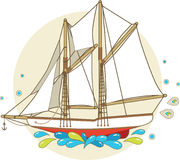 Cartoon sailing ship Stock Photos