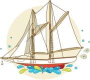 Cartoon sailing ship royalty free illustration