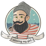 Cartoon sailor is missing his girl Stock Photos