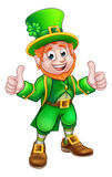 Cartoon Saint Patricks Day Leprechaun. A cartoon Leprechaun St Patricks Day character giving a double thumbs up Stock Image
