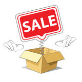 Cartoon Sale Icon. Cartoon Sale Banner Out of the Box Stock Images