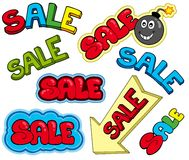 Cartoon sale signs Royalty Free Stock Photo