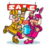 Cartoon sales fight Royalty Free Stock Images