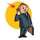 Cartoon salesman with briefcase Stock Photos