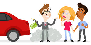 Cartoon salesman holding car keys labeled zero emission whilst standing in exhaust gases with sceptical customers looking at fumes. Vector illustration of Stock Photography