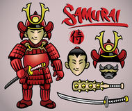 Cartoon samurai with the complete gears Royalty Free Stock Photography