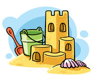 cartoon sand castle Stock Images