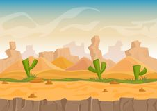 Cartoon sand and stone rocks desert landscape with cactuses and stone mountains. Vector game style vector illustration. Cartoon sand and stone rocks desert royalty free illustration