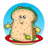 Cartoon sandwich on plate Stock Photography