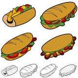 Cartoon Sandwich Set Royalty Free Stock Photo