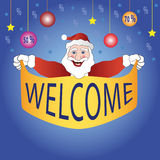 Cartoon santa. Is holding in hands banner fore sale with star balls and sale stock illustration