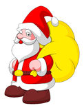 Cartoon Santa with Bag - Christmas Vector Illustration Royalty Free Stock Image