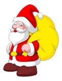 Cartoon Santa with Bag - Christmas Vector Illustration. Conceptual Drawing Art of Cartoon Santa Claus Holding Gift Bag Vector Illustration Royalty Free Stock Image