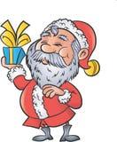 Cartoon Santa with a christmas gift Royalty Free Stock Photos