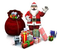 Cartoon Santa with Christmas gifts. Royalty Free Stock Photography