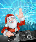 Cartoon Santa Christmas Party DJ. Santa Claus cartoon Christmas party DJ with at the record decks with dancing crowd in the background stock illustration