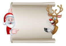 Cartoon Santa and Christmas Reindeer Scroll Stock Photos