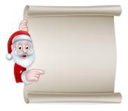 Cartoon Santa Christmas Scroll Sign Royalty Free Stock Images