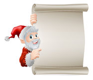 Cartoon Santa Christmas Scroll Stock Image