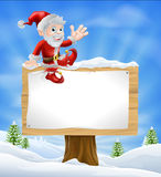 Cartoon Santa Christmas Sign Royalty Free Stock Image