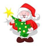Cartoon Santa with Christmas Tree Stock Photos
