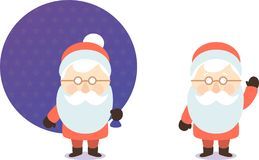 Cartoon santa claus with bag of gifts postcard Royalty Free Stock Images
