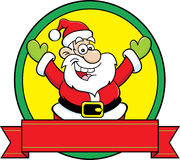Cartoon Santa Claus with a banner. Royalty Free Stock Image
