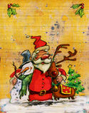 Cartoon Santa Claus big christmas hug with snowman and reindeer. Christmas illustration in love concept with santa snow man and reindeer hugging and mistletoes Royalty Free Stock Photography