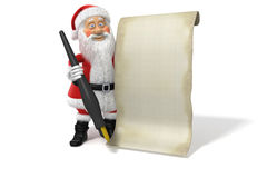 Cartoon Santa Claus Blank List Page Royalty Free Stock Photos