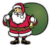 Cartoon of santa claus bring the bunch of christmas gift Royalty Free Stock Photo